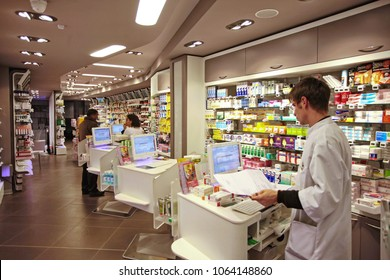 Modern interior pharmacy and drugstore. Paris, France - April 2015