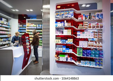 Modern interior pharmacy and drugstore. Paris, France - April 2015