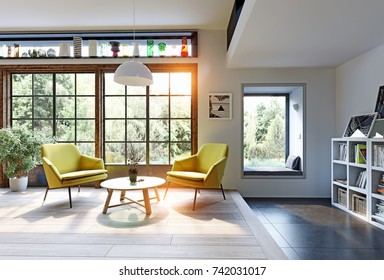 Modern interior rendering concept. 3d illustration