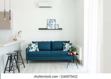 Modern interior of the Room in the House or Apartment. Blue Sofa with pillow and plaid in white simple living room