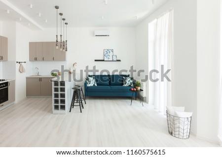 Modern interior room house apartment blue stock photo edit now