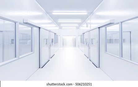 modern interior science laboratory with lighting from gateway, hospital background, factory background