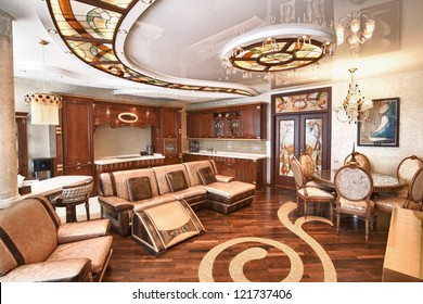 modern interior in shades of brown