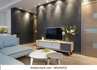 Modern interior of a small private apartment, sitting room
