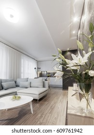 Modern interior of a small private apartment, sitting room, sofa and coffee table