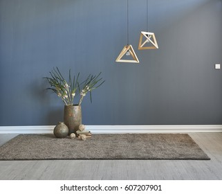 modern interior space blank wall decoration and special design lamp, colored wall, carpet and parquet