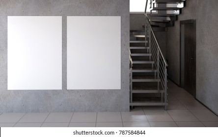 Modern interior with stairs. 3d illustration. Mock up poster