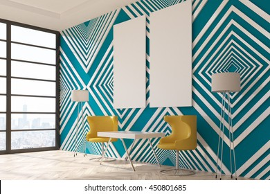 Modern interior with striped blue pattern wallpaper, wooden floor, small table, chairs, floor lamps, blank panel and window with city view. Mock up, 3D Rendering