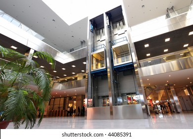 Modern interior of trade center with lifts