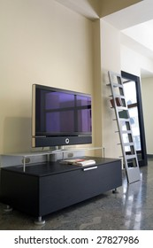 Modern interior with TV and disc shelf