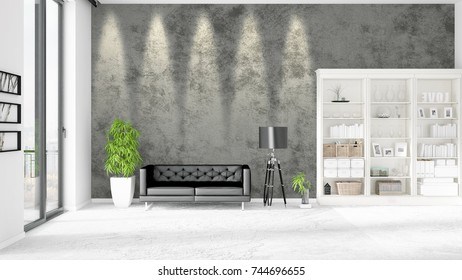 Modern interior in vogue with black leather couch and copyspace in horizontal arrangement. 3D rendering.