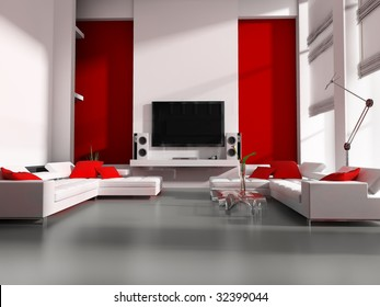 Modern interior white drawing tv room