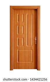 modern interior wooden door in white background