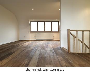 modern interior with wooden floor