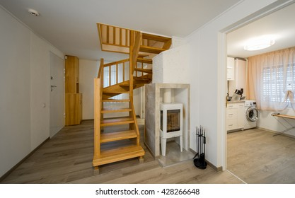Modern interior. A wooden staircase in the interior of the house.