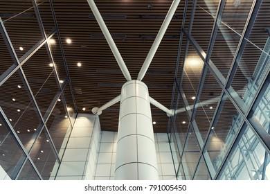 Modern interiors with glass windows