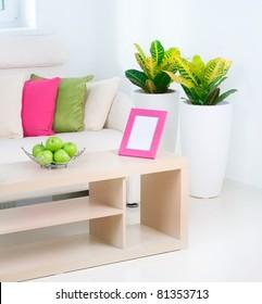 Modern Interior.White Living Room