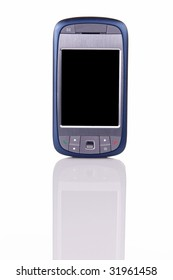 Modern internet capable cellphone standing up on white with clearly visible reflection in the front.  Space on the blank screen for your own image or text.