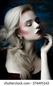 Modern interpretation of Marie Antoinette, portrait of european blonde model