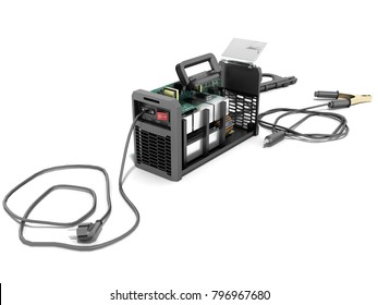 Modern inverter welding machine black disassembled 3d render on white background