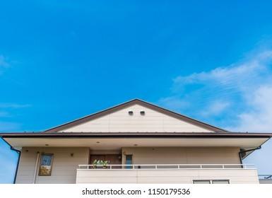 Modern Japanese house and blue sky