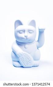 Modern Japanese lucky cat duotone white blue