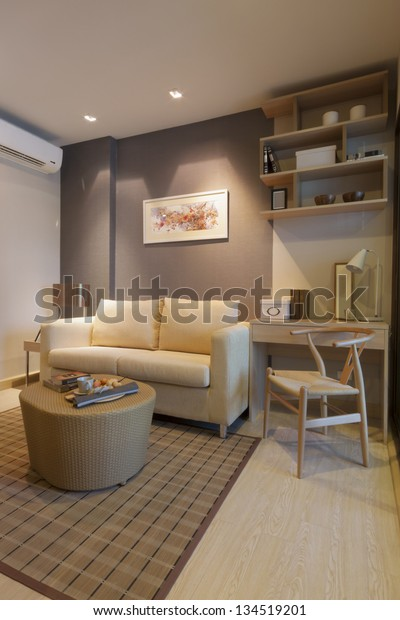 Modern Japanese Style Decorated Livingroom Stock Photo (Edit ...