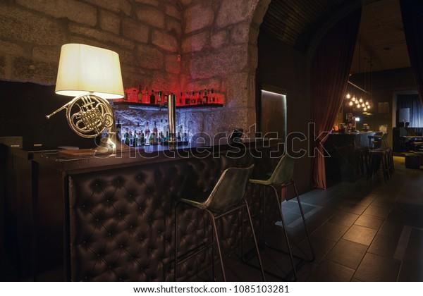 Modern Jazz Bar Interior Design Leather Interiors Stock Image 1085103281