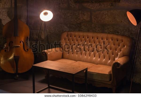 Modern Jazz Bar Interior Design Leather Interiors Stock Image 1086298433