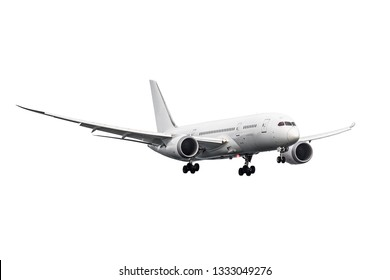 A modern jet airplane with body prepare for landing  isolated  on white background