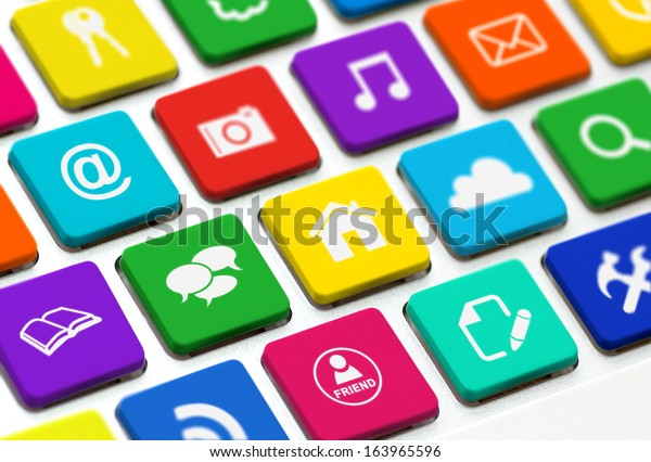 Modern keyboard with colored buttons and social media symbols