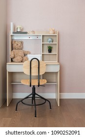 modern kid's room with set of chair and desk for working and study, interior design concept