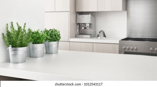 Modern kitchen with aromatics plants, 3d render illustration