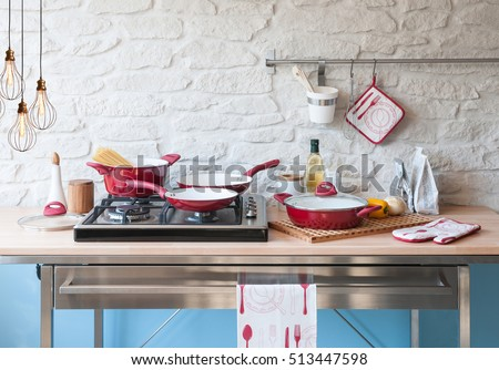 Modern Kitchen Behind Brick Wall Red Stock Photo Edit Now