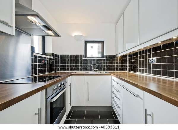 Modern Kitchen Black Ceramic Tiles Wooden Stock Photo (Edit ...