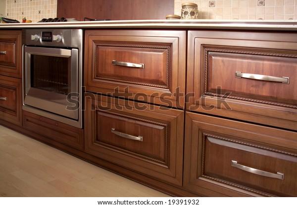 Modern Kitchen Cherry Cabinets Granite Countertops Stock Photo Edit Now 19391932