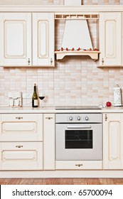 Modern kitchen design is extremely stylish and wood-flor.