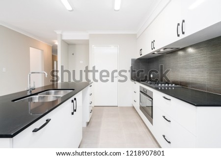 Modern Kitchen Design Stone Bench Top Stock Photo Edit Now