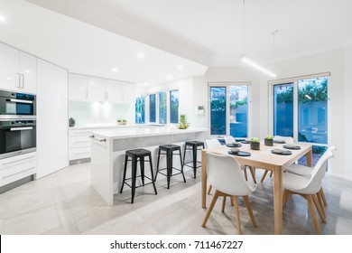 Modern kitchen and dining room in Australian home. Perth, Western Australia.