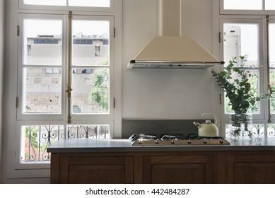 Modern kitchen with french windows