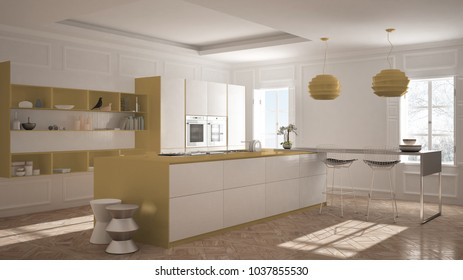 Modern kitchen furniture in classic room, old parquet, minimalist architecture, white and orange interior design, 3d illustration