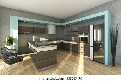Modern Kitchen In Grey and Blue Colors
