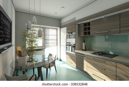 Modern Kitchen In Grey Colors 3d Rendering