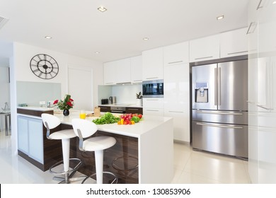 Modern kitchen with groceries
