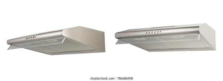 Modern kitchen hood, isolated on white.