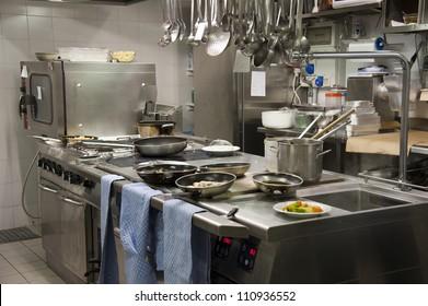 A modern kitchen in a hotel or restaurant