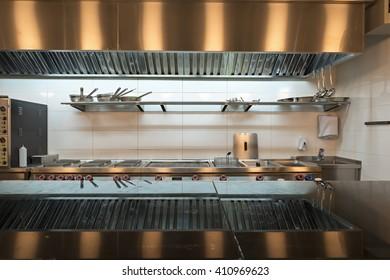 A modern kitchen in a hotel restaurant