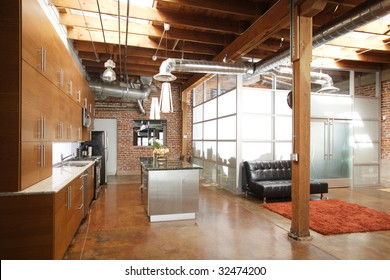 Modern kitchen in a huge loft