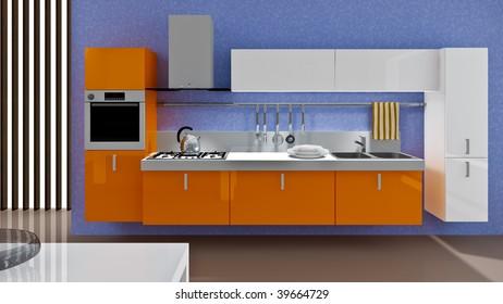A modern kitchen interior.