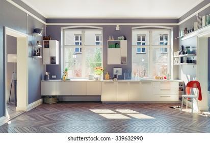 the modern kitchen interior. 3d render concept